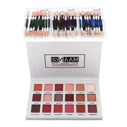 MagiDeal 18 Color Pearl Glitter Eyeshadow Palette+10pcs Eyes