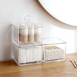 Sooyee 3 Tier Stackable Acrylic Cotton Ball & Swab Holder, D