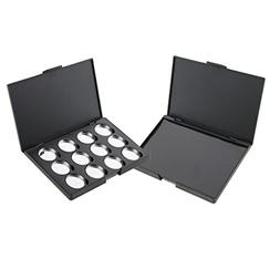MagiDeal 2pcs Cosmetic DIY Empty Magnetic Palette Box Eyesha