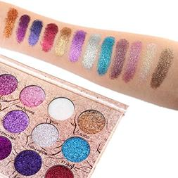 Best Pro Eyeshadow Palette Makeup - Matte + Shimmer 12 Color