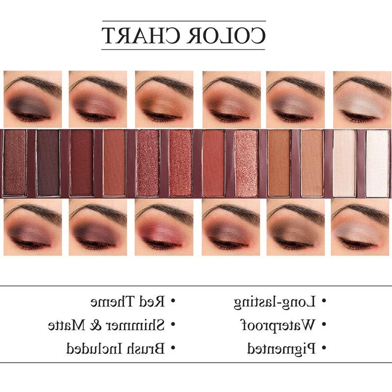 UCANBE 12 Rock Heat Eye Makeup <font><b>Palette</b></font> Matte Red Copper <font><b>Warm</b></font> Nude <font><b>Eyeshadow</b></font>