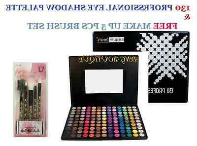 130 color eye shadow free brush set