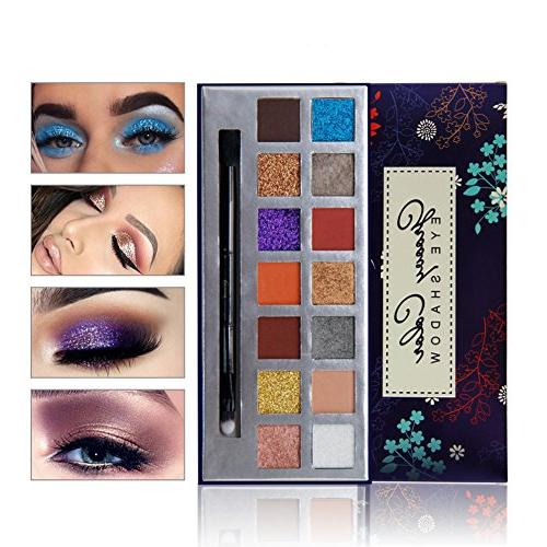 14 Color Eyeshadow Palette,HUBEE Shiny Warm Shimmer And Matt