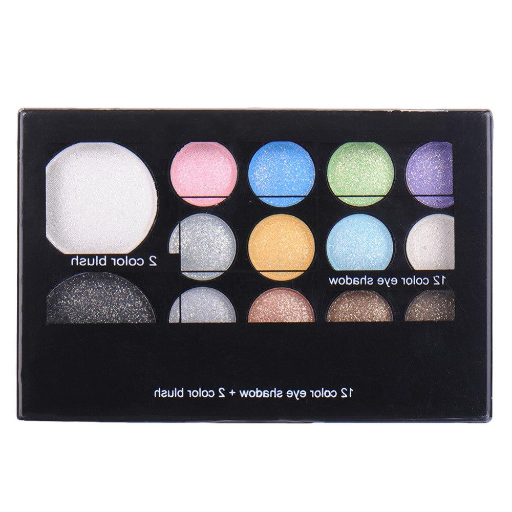 14colors/set <font><b>Neutral</b></font> Glitter <font><b>Palette</b></font> Makeup Cosmetic Box With Brush