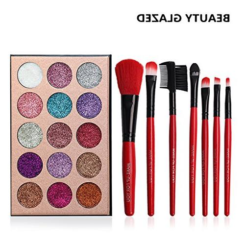 15 Palette Ultra Glitter Make 7pcs Brushes Tools Bag