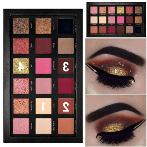 18 Colors Eye Shadow Matte Palette + Brush Makeup Textured Rose Gold Edition