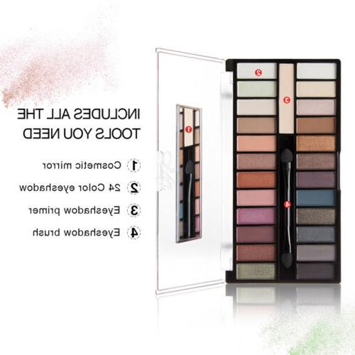 MagiDeal 24 Eyeshadow Palette with Cosmetic Mirror & Brush &