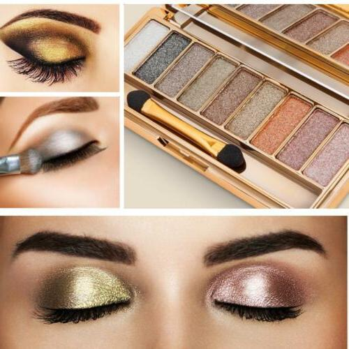 9 colors glitter eyeshadow palette and makeup