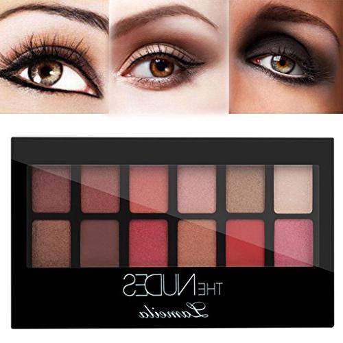 12 Color Matt Eyeshadow Waterproof Long-Lasting Shimmer Makeup Kit