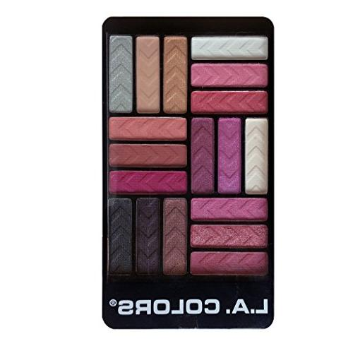 L.A. Colors 18 Color Glam Palette Eyeshadow, Diva Glam, 0.70