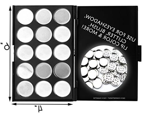Empty Palettes 15-Compartment Trays for Eye Shadow Lip Gloss
