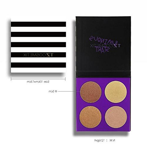 Hunzed { 4 Color Shadow Makeup Cosmetic } Diamond Eye Sombras } for Beauty