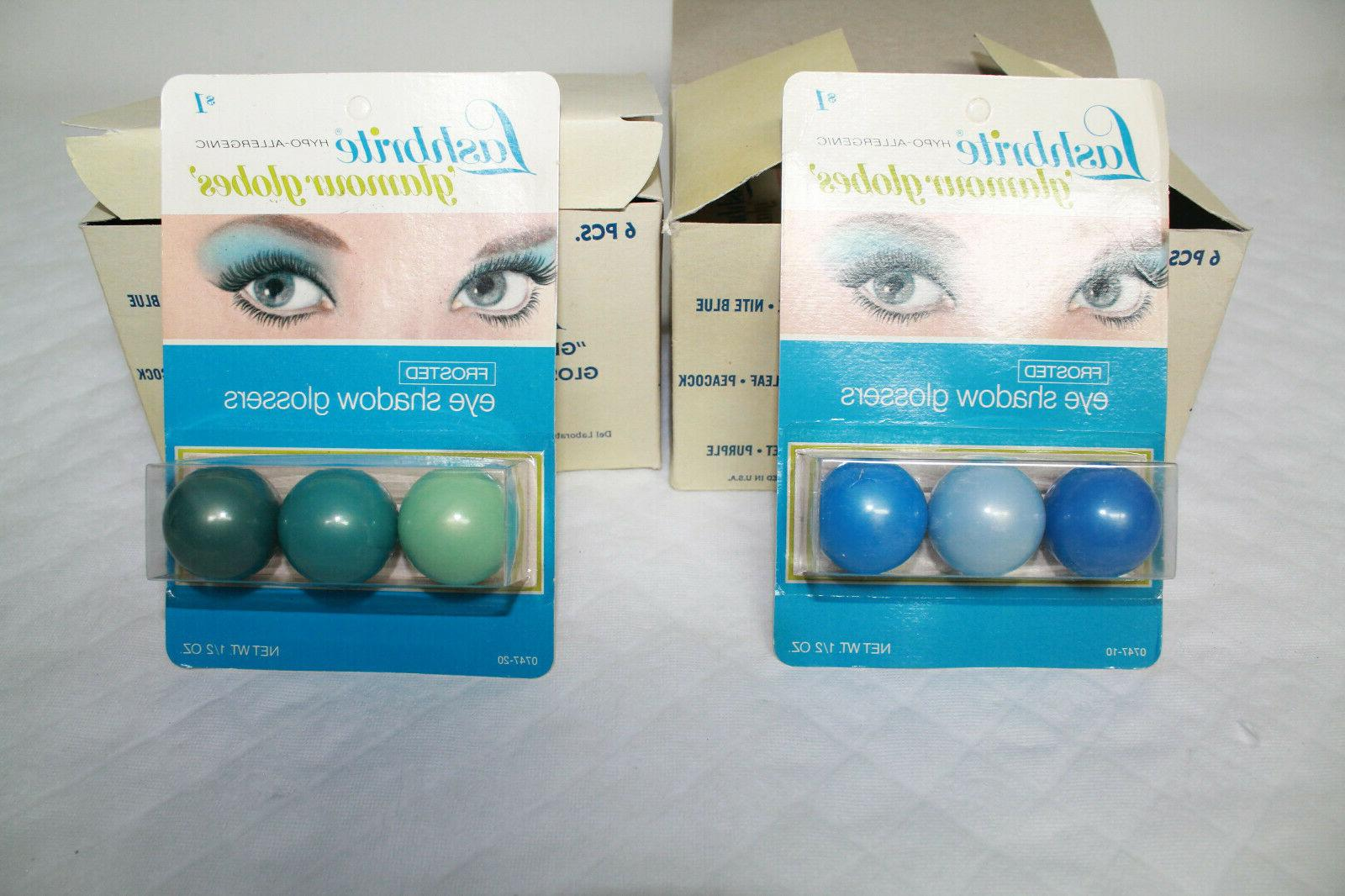 NOS Vintage Lashbrite Glamour Globes Blue Green 11 Packages 1973