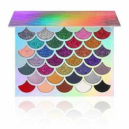 Mermaid Glitter Eyeshadow Palette 32 Colors 21 Pressed Glitt