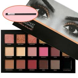 Pro 18 Colors Textured Eye shadow Palette + Beauty Brush Mak